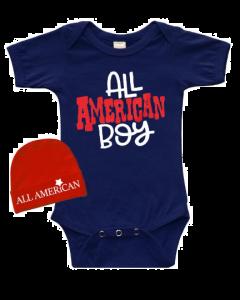 All American Boy Baby Bodysuit Gift Set