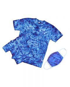 Matching Adult, Kids Blue Tie Dye Shirts and Masks