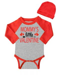 Mommy's Little Valentine Baby Bodysuit, Valentine's Day Baby Outfit