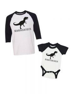 Mamasaurus/Babysaurus - Raglan Onesie & Adult Raglan T-Shirt