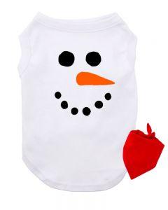 Snowman Dog Tshirt, Snowman Pet Costume