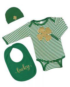 St. Patricks Day Baby Gift Set - Bodysuit, Cap, Bib - Lucky  Clover